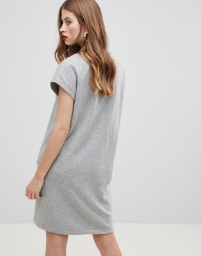photo Wool Dress with Oversized Pockets by Y.A.S, color Light Grey Melange - Image 2