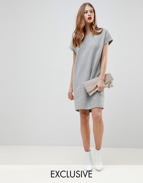 photo Wool Dress with Oversized Pockets by Y.A.S, color Light Grey Melange - Image 1
