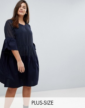 photo Pinstripe Frill Skater Dress by Junarose, color Navy - Image 1