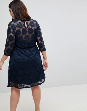 photo Lace Skater Dress by Junarose, color Navy Blazer - Image 2