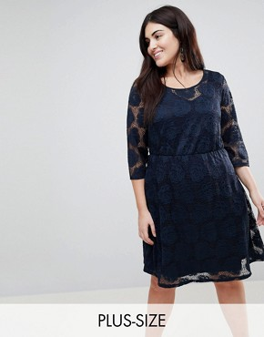 photo Lace Skater Dress by Junarose, color Navy Blazer - Image 1