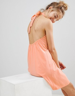 photo Twist Halterneck Swing Sundress by ASOS, color Peach - Image 2