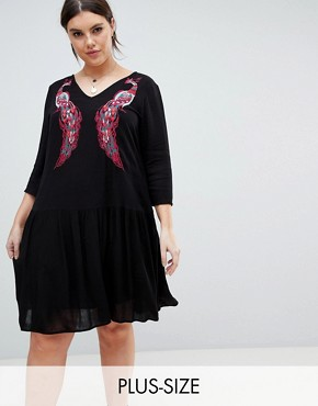 photo Embroidered Smock Dress by Junarose, color Black - Image 1