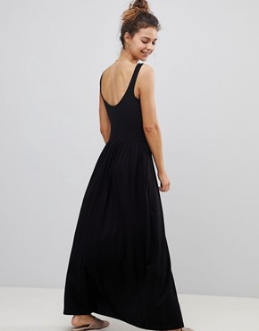 photo Mixed Fabric Strappy Maxi Dress by ASOS, color Black - Image 2