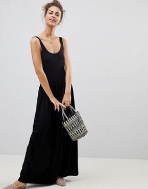 photo Mixed Fabric Strappy Maxi Dress by ASOS, color Black - Image 1