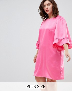 photo Frill Sleeve Shift Dress by Junarose, color Pink - Image 1