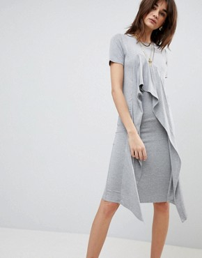 photo Midi T-Shirt Dress with Frill Front by ASOS, color Grey Marl - Image 1