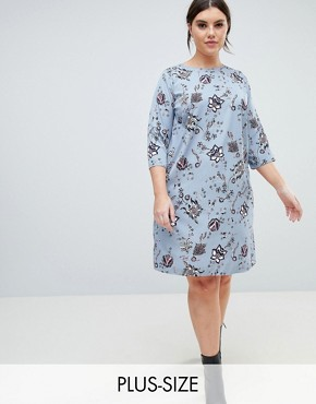 photo Delicate Floral Print Shift Dress by Junarose, color Multi - Image 1