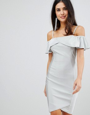 photo Midi Dress with Overlay by AX Paris, color Silver - Image 1