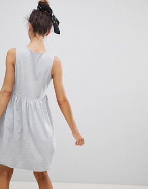 photo Sleeveless Button Smock Dress by ASOS, color Grey Marl - Image 2