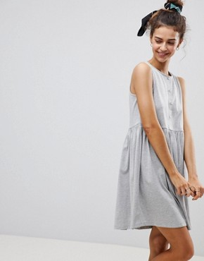 photo Sleeveless Button Smock Dress by ASOS, color Grey Marl - Image 1