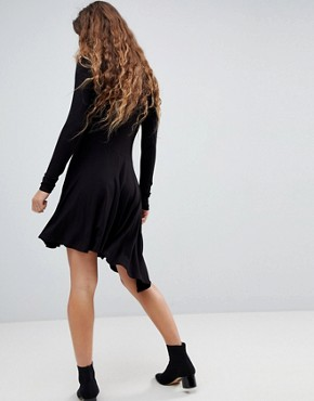 photo Mini Swing Dress with Asymmetric Hem by ASOS, color Black - Image 2
