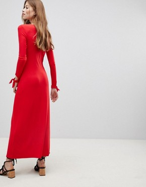 photo Maxi Tea Dress with Self Covered Buttons by ASOS DESIGN, color Red - Image 2