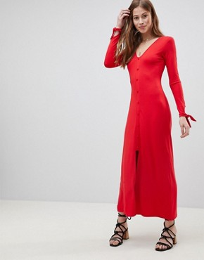 photo Maxi Tea Dress with Self Covered Buttons by ASOS DESIGN, color Red - Image 1