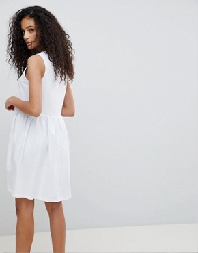 photo Sleeveless Button Smock Dress by ASOS, color White - Image 2