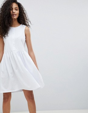 photo Sleeveless Button Smock Dress by ASOS, color White - Image 1