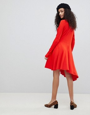 photo Mini Swing Dress with Asymmetric Hem by ASOS, color Red - Image 2