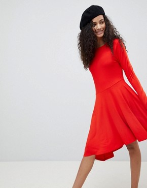 photo Mini Swing Dress with Asymmetric Hem by ASOS, color Red - Image 1
