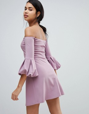 photo Bardot Off the Shoulder Balloon Sleeve Shift Dress by ASOS, color Dusky Orchid - Image 2