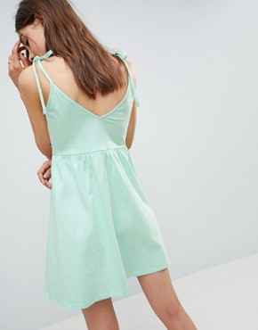 photo Mini Smock Sundress with Tie Straps by ASOS DESIGN, color Mint - Image 2