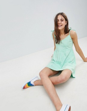 photo Mini Smock Sundress with Tie Straps by ASOS DESIGN, color Mint - Image 1