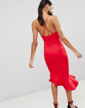 photo Scuba Cami Pephem Midi Dress by ASOS, color Red - Image 2