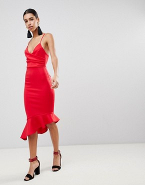 photo Scuba Cami Pephem Midi Dress by ASOS, color Red - Image 1