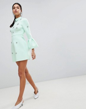 photo Scuba Embellished a-line Mini Dress by ASOS DESIGN, color Mint - Image 1