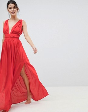 photo Grecian Plunge Maxi Woven Beach Dress by ASOS, color Red - Image 1