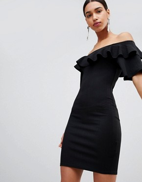 photo Bodycon Off Shoulder Dress with Ruffles in Crinkle by Fashion Union, color Black Crinkle - Image 1