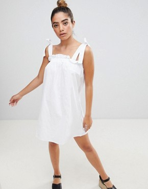 photo Sun Dress with Tie Shoulders by Fashion Union, color White - Image 1