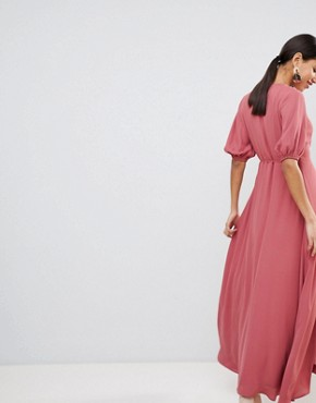 photo Wrap Front Maxi Dress with Balloon Sleeves by Fashion Union, color Raspberry - Image 2