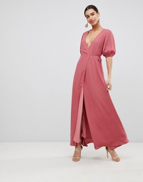 photo Wrap Front Maxi Dress with Balloon Sleeves by Fashion Union, color Raspberry - Image 1