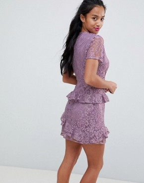 photo Dress in Lace by Fashion Union Petite, color Lilac Lace - Image 2