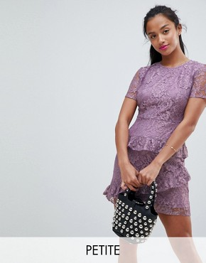 photo Dress in Lace by Fashion Union Petite, color Lilac Lace - Image 1