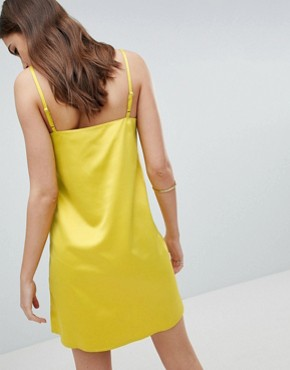 photo Slip Dress with Button Side in Satin by Fashion Union Tall, color Chartreuse - Image 2