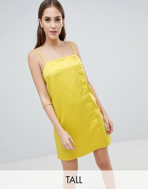 photo Slip Dress with Button Side in Satin by Fashion Union Tall, color Chartreuse - Image 1