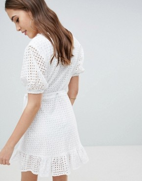 photo Wrap Dress in Broderie by Fashion Union Tall, color White Broderie - Image 2