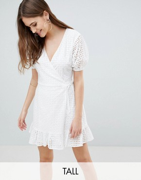photo Wrap Dress in Broderie by Fashion Union Tall, color White Broderie - Image 1