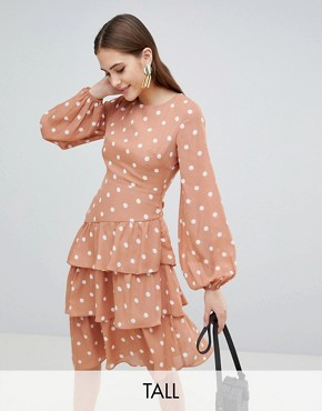 photo Open Back Midi Dress with Tiered Skirt in Vintage Spot by Fashion Union Tall, color Apricot Spot - Image 1