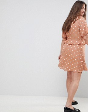 photo Tea Dress in Vintage Spot by Fashion Union Plus, color Apricot Spot - Image 2
