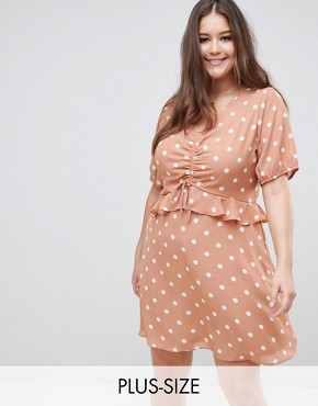 photo Tea Dress in Vintage Spot by Fashion Union Plus, color Apricot Spot - Image 1
