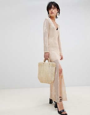 photo It's Like This Crochet Lace Midi Dress by Free People, color Neutral - Image 1