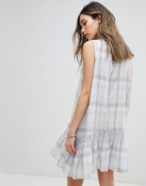 photo Run with Me Plaid Mini Dress by Free People, color Grey Combo - Image 2
