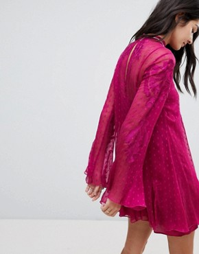 photo Cocquet Sheer Mini Dress by Free People, color Raspberry - Image 2