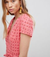 photo Mini Tea Dress with Tie Waist in Ditsy Rose by Glamorous, color Coral Rosebud - Image 3