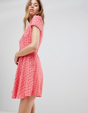 photo Mini Tea Dress with Tie Waist in Ditsy Rose by Glamorous, color Coral Rosebud - Image 1