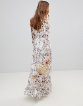 photo Maxi Dress with Ruffle Layers in Blossom Floral by Glamorous, color Cream Blossom Floral - Image 2