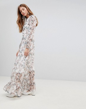 photo Maxi Dress with Ruffle Layers in Blossom Floral by Glamorous, color Cream Blossom Floral - Image 1