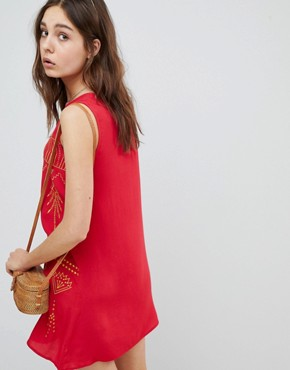 photo Sleeveless Mini Shift Dress with Contrast Embroidery by Glamorous, color Red - Image 2